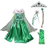 子供用 女の子 キッズ 衣装 ハロウィン コスチューム 女王 ドレス 5点セット (ドレス+ティアラ+三つ編み+ステッキ+グローブ) (110, グリーン)
