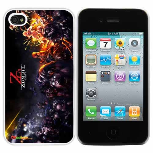Zombie Online Fashion Design Hard Case Cover Skin Protector for Iphone 4 4s Iphone4 At&t Sprint Verizon Retail Packing (White Pc Pearlescent Aluminum)fs-0133