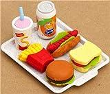 Gomas de borrar con forma de patatas fritas, hamburguesa, perrito caliente, sandwich y bebidas, importado de Japón