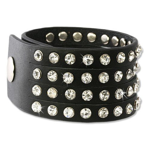 SilberDream Leather Bracelet black with cubic zirconia stones - fits 6.3'' to 7.9'' - Women Leather Bracelets genuine Leather LAP230S