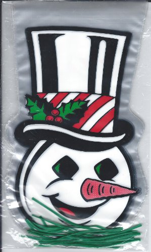 SNOWMAN GOODIE BAGS- 14 COUNT DECORATED CELLO BAGS WITH GREEN WIRE TIES