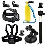 Wespire® Action Sports Camera Accessories Kit Mount Head Chest Belt Strap Camera Strap Handheld Monopod Tripod Adapter Floating Hand Grip Suction Cup J-Hook Buckle For GoPro Hero For SJCAM
