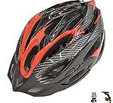 D'Kotte スタイリッシュ! 軽量! 自転車用 サイクリング ヘルメット 色選択できます!LEDテールライト付き! (カーボン柄/赤/黒)