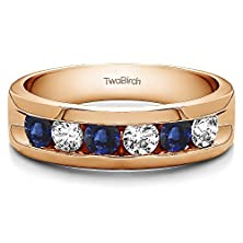 buy 14K Rose Gold Channel Set Gent'S Band With Open Ends With Diamonds And Sapphire (0.99 Ct. Twt.)