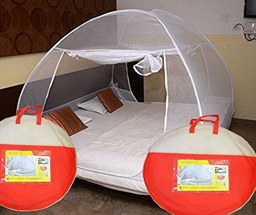 ATHENACREATIONS Double Bed Foldable Mosquito Net (White)