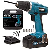 MYLEK® 18V Cordless NiCd Drill Driver with LED Work Light - 13 Piece Accessory Kit with Carry Case - Forward / Reverse, Variable Speed & Quick Stop Function