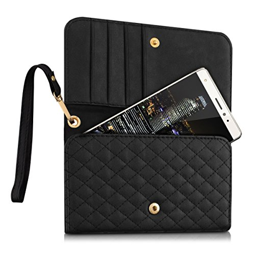 kwmobile custodia in similpelle per Smartphones - borsetta pochette con fantasia a rombi trapuntati e scompartimento per le carte - custodia per cellulare in nero - compatibile ad es. con Samsung, Apple