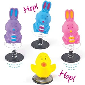 Chick & Bunny Easter Jump-Up Toys for Kids to Play with (Pack of 4)