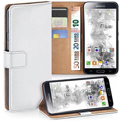 OneFlow PREMIUM - Book-Style Custodia con design portamonete e funzione stand per Samsung Galaxy S5 mini - SHINY-WHITE