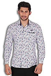 KIvon Men's White Printed Slim Fit CAsual Shirt