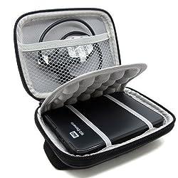 Co2Crea(TM) Black Hard EVA Shockproof Carrying Case Pouch Bag for Western Digital WD My Passport Studio Ultra Slim Essential WD Elements SE Portable 500GB 1TB HDD