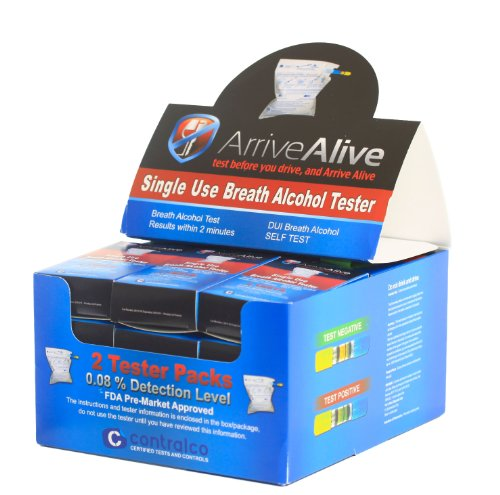 Cheap (24) Arrive Alive Double Pack Breath Alcohol Tester (24 double pack units total) (AA-2pack-Display Pack of 24-2packs)