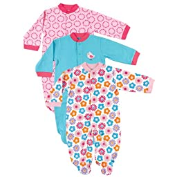 Snap Front Sleep N Play, 3-Pack, Pink, 0-3 months