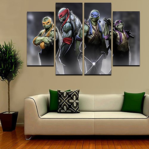 2016 Hot 4 Pcs Large HD Teenage Mutant Ninja Turtles With Abstract Canvas Print Painting for Living Room Wall Art Picture Gift (Teenage Mutant Ninja Turtles Art compare prices)