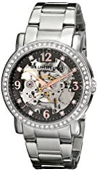 Stuhrling Original Women's 531L.111154 Canterbury Automatic Skeleton Crystals Grey Dial Watch