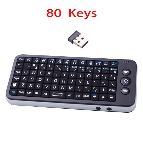 80 Keys Mini Wireless 2.4Ghz Keyboard & Air Mouse With Usb Receiver-Black