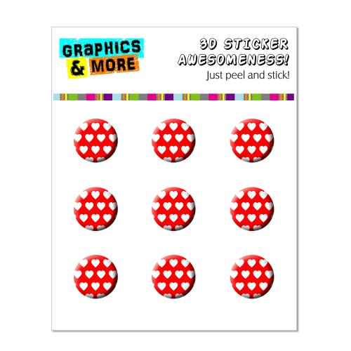 Graphics and More Sweet Heart Pattern Red White Home Button Stickers Fits Apple iPhone 4/4S/5/5C/5S, iPad, iPod Touch - Non-Retail Packaging - Clear