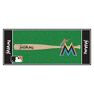 FANMATS MLB Miami Marlins Nylon Face Football Field Runner by Fanmats