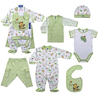 Amazon.com: Hudson Baby 6-Piece Layette Set - Green, 0-3 Months