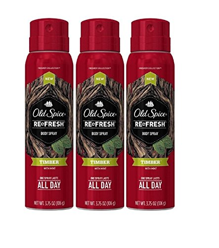 Old Spice Re Fresh Body Spray - Fresher Collection - Timber - Net Wt. 3.75 OZ (106 g) Each - Pack of 3 (Amber Body Spray compare prices)