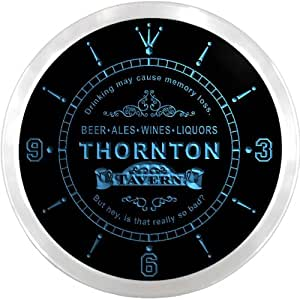 ncpx2263-b THORNTON Tavern Wine Bar Ale Beer LED Neon Sign Wall Clock