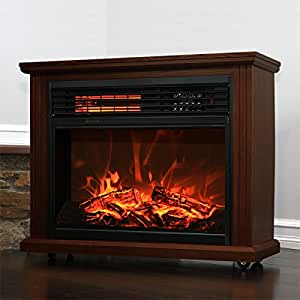 Xtremepowerus Infrared Quartz Electric Fireplace Heater Walnut Finish With Remote
