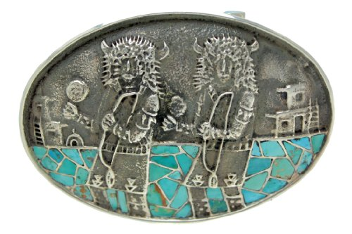 Philander Begay, Turquoise Inlay Buckle, Buffalo Dancers, Tufa Cast, Sterling front-575455
