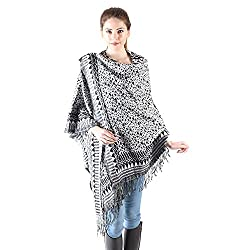 Owncraft black white acro wool cape for women