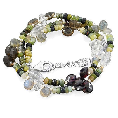 925 Sterling Silver Amazing Multi Gemstone Smoky Quartz Garnet Labradorite Strand 18 Inches Necklace