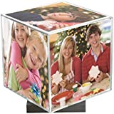 "Clear Spinning Photo Cube with Silver Base, Holds Five 3.5"" x 3.5"" Photos"