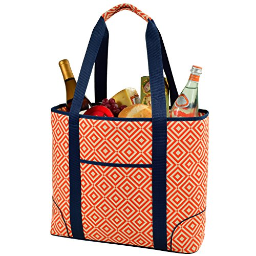 Picnic at Ascot  Extra Large Insulated Cooler Bag - 30 Can Tote - Orange/Navy (Orange Cooler Bag compare prices)