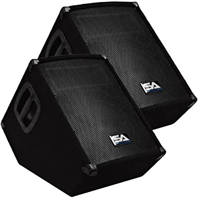 "Seismic Audio - SA-10MT-PW-Pair - Pair of Powered 2-Way 10"" Floor / Stage Monitor Wedge Style with Titanium Horn - 250 Watts RMS - PA/DJ Stage, Studio, Live Sound Active 10 Inch Monitor by Seismic Audio"