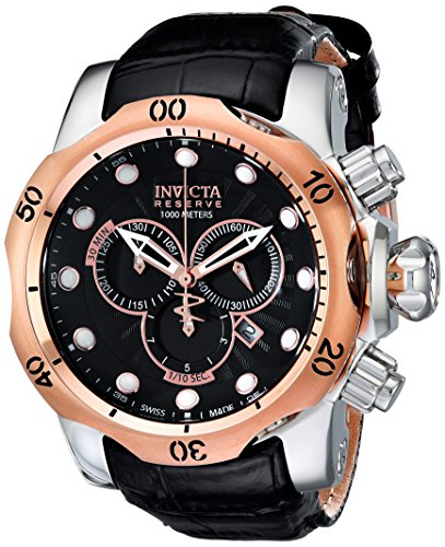 Invicta Men's Reserve Collection Venom Chronograph Watch 0360 with SS Case, IPRG Bezel, Black Dial and Black Leather Strap