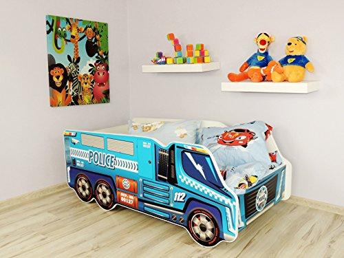 TODDLER CHILDREN KIDS BED INCLUDING MATTRESS CAR TRUCK (Police Truck)