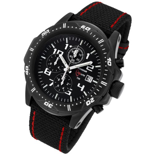 Armourlite Professional Series Black Chronograph Watch with Black & Red Kevlar Band<br />
