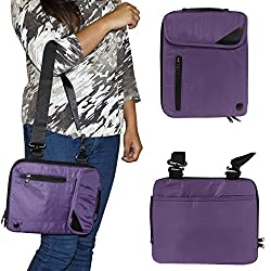 DMG Padwa Lifestyle Shockproof Soft Sleeve Carrying Vertical Messenger Nylon Bag Case with Handle and Shoulder Strap for Samsung Galaxy Tab S2 T810 9.7in Tab (Purple)