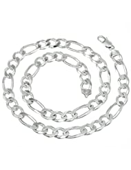 9.5mm Men's Real Solid 925 Sterling Silver Figaro Link Chain Necklace or Bracelet promo code 2015