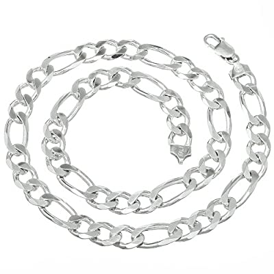 9.5mm Men's Real Solid 925 Sterling Silver Figaro Link Chain Necklace or Bracelet discount price 2015