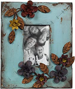 Wilco Imports Distressed Light Blue Wood Frame with Metal Floral Design