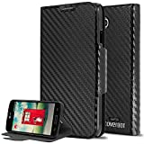 CoverBot LG Optimus L70 Flip Wallet Case with Stand BLACK CARBON FIBER. Slim Style with Folio Flip Cover