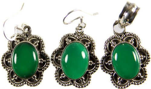 Green Onyx Pendant with Matching Earrings Set - Sterling Silver