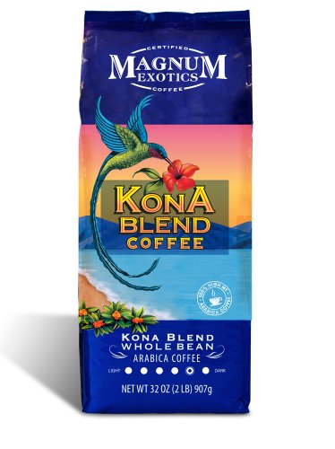 Magnum Exotics Kona Blend Coffee, 2 Pound, Whole Bean