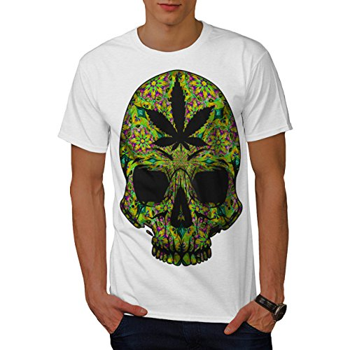 Cannabis-Skull-Head-Pot-Skeleton-Men-NEW-White-S-T-shirt-Wellcoda