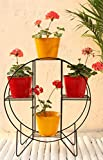 Green Gardenia Iron Hoop Round Pot Stand With 4 Metal Planter in Yellow & Red