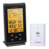 First Alert Radio Controlled Wireless Weather Station with Dual Alarm Clock, Black/White