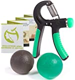 Hand Gripper Exerciser Kit - Premium Strengthener Grip Trainer with Adjustable Resistance 22 to 88 Lbs - Exercise Therapy Squeeze Balls Included - Arm Trainer Equipment Quickly Increase Wrist Forearm and Finger Strength
