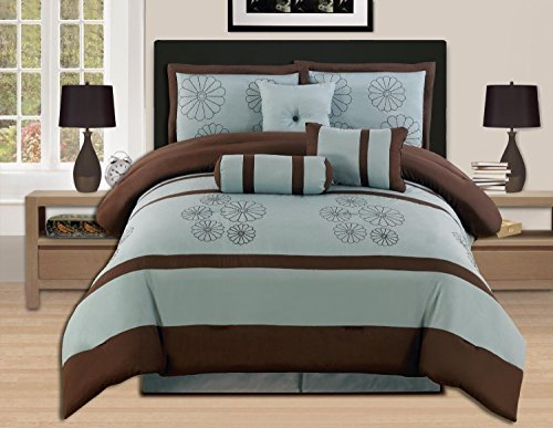 11 Piece Brown Aqua Blue Luxury Embroidery Comforter Set Bed-In-A-Bag King/Queen