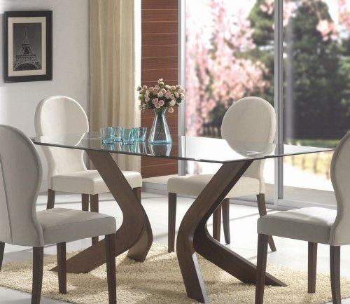 Cheap San Vicente Beveled Glass Top Walnut Brown Pedestal Dining Table (VF_120361)