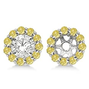 Round Fancy Yellow Diamond Earring Jackets for 7mm Diamond Studs 14K White Gold 0.90cw