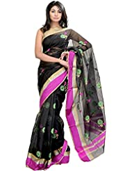Exotic India Jet-Black Chanderi Sari With Woven Flowers In Multi-Colored - Black